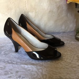 "Franco sarto 2 tone brown leather pumps 3"" heel"